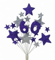 Number age 60th birthday cake topper decoration in purple and silver - free postage